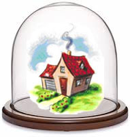 house under glass dome